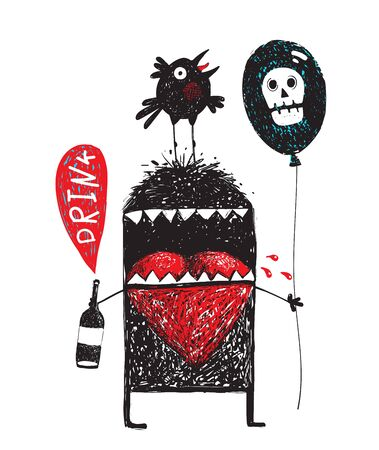 Doodle cartoon alcoholic monster holding bottle with bubble drink, black air balloon with white skull ,and crow bird sitting on his head drawing illustration.