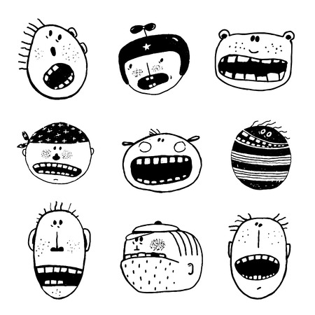 hand set: Linear hand drawn people icon set. Cartoon different characters and personalities.