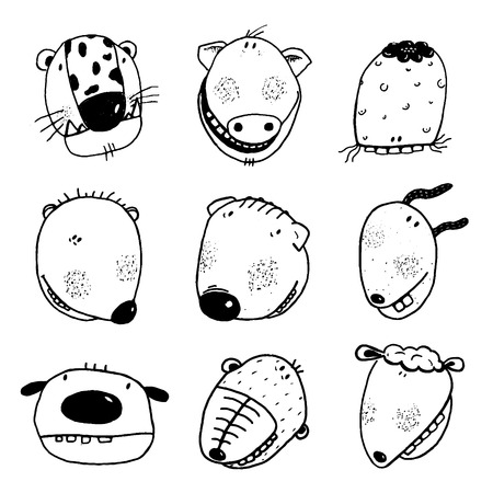 hand set: Linear style animals icon set. Cartoon style, different characters.