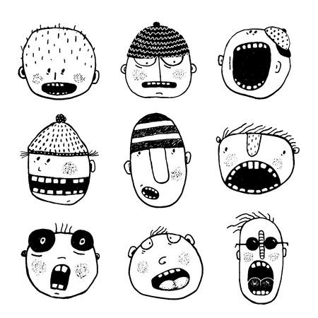 face expressions: Strange characters collection. Cartoon style, various funny personalities.