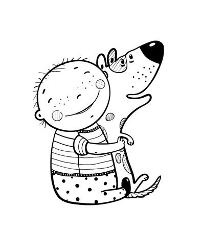hugging: Child happiness smiling with friend animal pet. Coloring book, black and white illustration, vector cartoon.