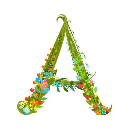 summer sign: Flower ABC sign A. Floral summer colorful intricate calligraphy design element. Vector illustration. Illustration