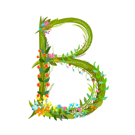 intricate: Flower intricate ABC sign B. Floral summer colorful intricate calligraphy design lettering element. Vector illustration.