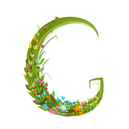 intricate: Flower ABC sign G. Floral summer colorful intricate calligraphy design element. Vector illustration. Illustration