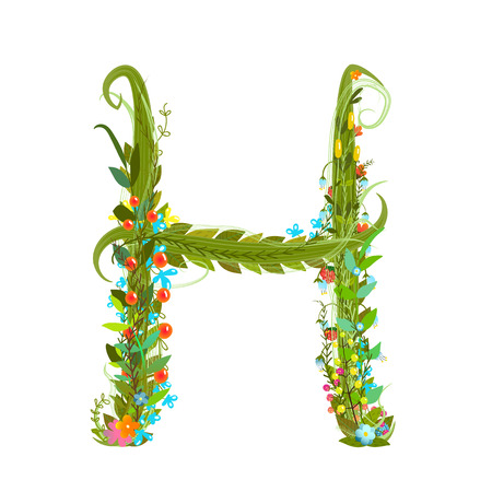summer sign: Flower ABC sign H. Floral summer colorful intricate calligraphy design element. Vector illustration. Illustration