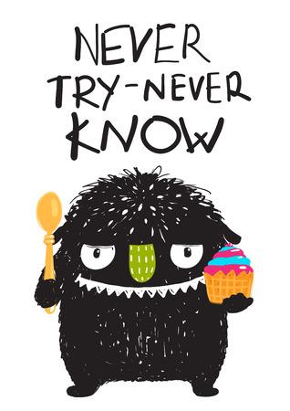 Tarjeta de la historieta Postre consumición de la diversión del monstruo. Angry pequeño monstruo hambriento dulces divertidos tratando. Los niños de dibujos animados. dibujo vectorial.
