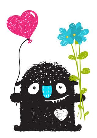 Grappig Monster met Bloemen en Heart Balloon Cartoon voor Kids. Gelukkig grappig kinderachtig klein monster feliciteert. Vector tekening.
