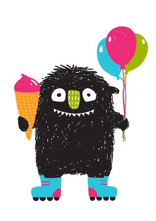 little skate: Kids Fun Monster with Ice-cream Balloons Roller Skating Cartoon. Happy funny little monster skating for children cartoon illustration. Vector drawing. Illustration