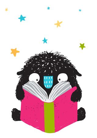 Monster leesboek Cartoon voor kinderen. Gelukkig grappig klein monsteronderwijs en lezing, beeld voor kinderen. Cartoon afbeelding. Vector tekening. Stock Illustratie