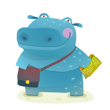 Hippopotamus Kid Student with Book and Bag Going to School. Happy fun watercolor style pupil animal reading and studying cartoon illustration. Vector drawing.