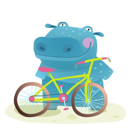 Hippo with Bicycle. Happy fun wild animal doing bicycle sport for children illustration. Vector drawing.