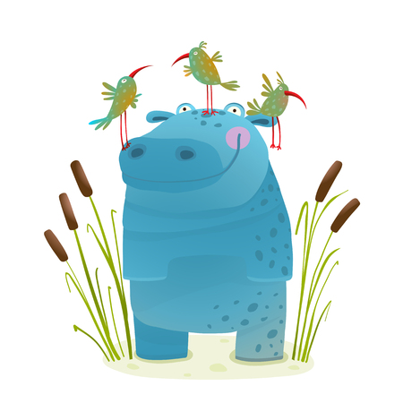 behemoth: Wildlife Hippo with Cute Birds Smiling Kids Friends. Happy hippopotamus watercolor style animal in the wil. Behemoth for children cartoon illustration. Vector drawing. Illustration
