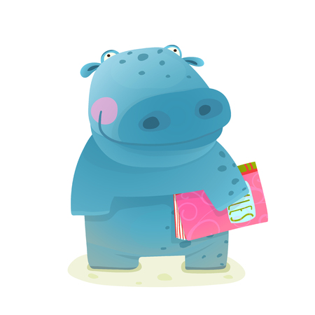 kid drawing: Hippopotamus Kid with Book Study Reading. Happy fun watercolor style animal going to school cartoon illustration. Vector drawing. Illustration