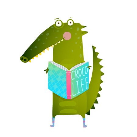 student book: Childish Student Crocodile Reading Book and Study. Happy fun watercolor style animal education for children cartoon illustration. Vector drawing. Illustration