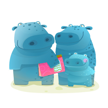 Hippo Family Mother Father and Kid with Book. Happy fun watercolor style zoo animal family for children cartoon illustration. Vector drawing.