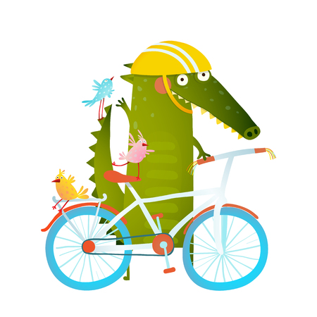 Cartoon green funny crocodile in helmet with bicycle and birds friends. Funny crocodile with bicycle and colorful birdies. Cute wild bicyclist. Isolated cartoon character for children books, greeting cards and other design projects. Vector illustration