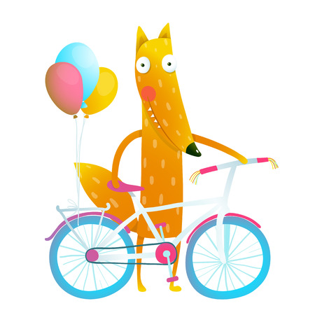 foxy: Cartoon red funny fox with bicycle and balloons. Funny reddish foxy with bicycle and colorful balloons. Cute wild bicyclist. Isolated cartoon character for children books, greeting cards and other design projects. Vector illustration Illustration