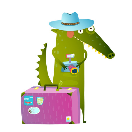 green cute: Cute green crocodile tourist with blue hat, suitcase and camera. Funny wildlife. Cartoon characters for children animals greeting cards and other projects. Vector illustration in bright colors
