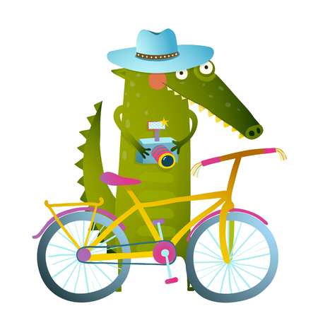 funny cartoon: Traveling crocodile tourist with suitcase camera bicycle. Cyclist crocodile tourist with blue hat, suitcase and camera. Funny wildlife drawing. Cartoon characters for children. Vector hand drawn illustration in vivid colors