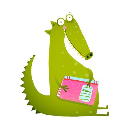 ドラゴンや恐竜の漫画本を読んでします。かわいいレッド フォックスに座って、読書の本 - フォックス ライフ。鮮やかな色の哺乳動物、野生動物。