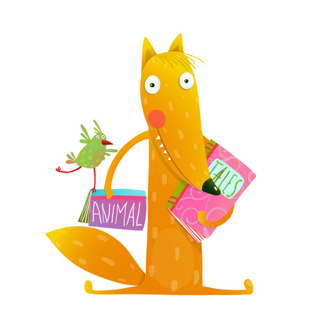 Cartoon fox reading books with bird friend. Cute red fox and birdie sitting and reading books. Wildlife brightly colored hand drawn watercolor style picture on white background. Vector illustration.  イラスト・ベクター素材