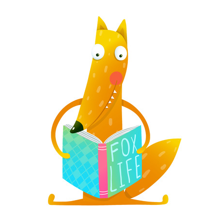 Cute funny cartoon fox reading book. Cute red fox sitting and reading book - Fox life. Wildlife brightly colored hand drawn watercolor style picture on white background. Vector illustration.