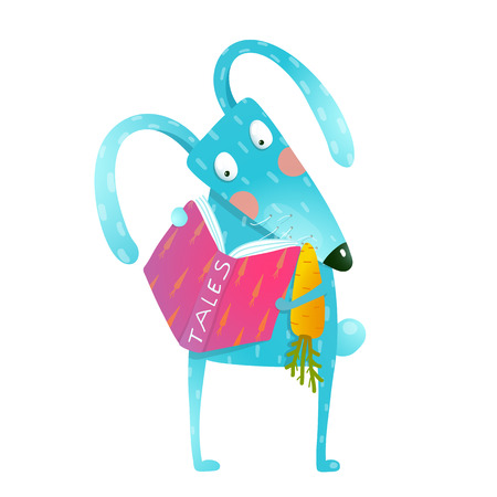 Cute funny cartoon fox reading book. Cute cartoon blue bunny with carrot reading tales book. Funny wildlife. Cartoon character for children books, animals greeting cards and other projects. Vector illustration in bright colors.