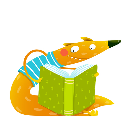 reads: Fun colorful fox reading kids book. Cute red fox sitting and reading book. Wildlife brightly colored hand drawn watercolor style cartoon picture isolated on white background. Vector illustration. Illustration