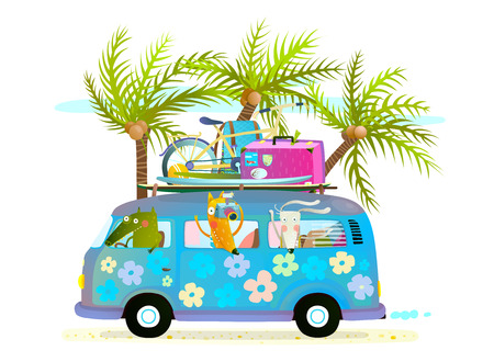 travelling: Holiday summer bus with beach tropical vacation tourists baby animals and palms. Touristic summer holidays cartoon illustration for kids with baby animals travelling. Crocodile, fox and rabbit on vacation, driving a blue bus. Vector illustration.
