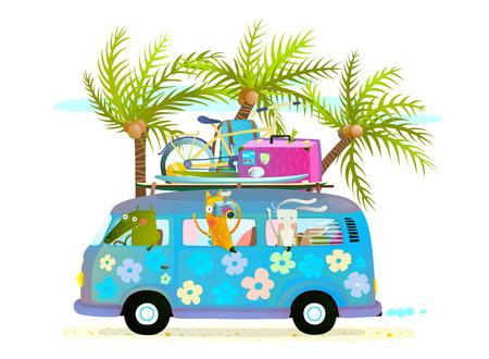 Vakantie zomer bus met strand tropische vakantie toeristen baby dieren en palmen. Toeristische zomervakantie cartoon illustratie voor kinderen met baby dieren reizen. Krokodil, vossen en konijnen op vakantie, het besturen van een blauwe bus. Vector illustratie.