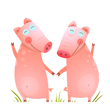 two animals: Baby Small Pigs Cute Friends Playing on Grass. Funny childish piggy friendship. Two domestic animals for kids. Vector illustration. Illustration