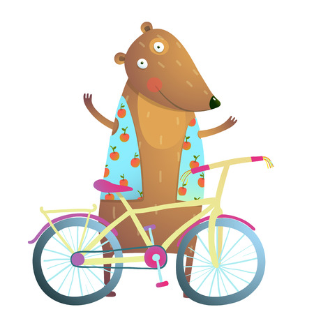 Baby Teddy Bear Character with Bicycle cute sport cartoon for kids. Bear cub cute colorful sporty adorable animal illustration. Vector illustration.