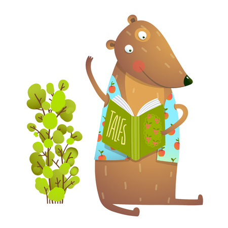 Baby Teddy Bear Character Reading Book Learning. Bear cub cute sitting studying and learning adorable animal illustration. Vector illustration.