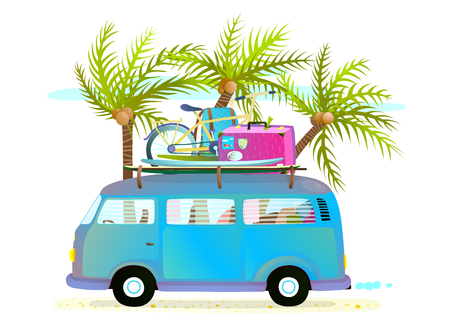 Holiday summer trip bus for beach tropical vacation with luggage. Touristic summer holidays cartoon bus illustration for travelling. Tropical vacations driving a blue bus with palm trees. Vector illustration.