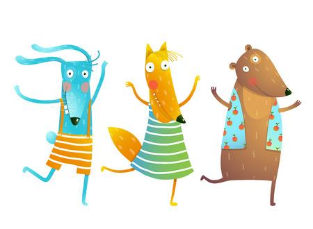 Cute Baby Animals Konijn Fox draagt dansend of Playing Characters Kids Het dragen van kleren. Kinderachtig cartoon voor kinderen dansen of het spelen wild cub in kleding, overhemden, kleren. Konijntje, vos, beer vrienden Vector cartoon illustratie. Stock Illustratie