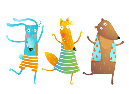 Cute Baby Animals Rabbit Fox Bear Dancing or Playing Kids Characters Wearing Clothes. Childish cartoon for children dancing or playing game animals cub in dress, shirts, clothes. Bunny, fox, bear friends Vector cartoon illustration.