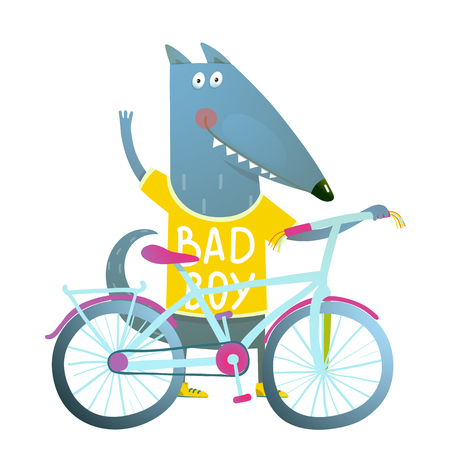 cute cartoon kids: Baby Boy Wolf or Dog Character Greeting with Bicycle cute sport cartoon for kids. Wolf dog cub cute colorful sporty adorable animal illustration. Wearing a tee shirt. Vector illustration.