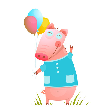 humorous: Little Adorable Baby Pig with Balloons for Kids. Pig congratulating with balloons on grass humorous character kids cartoon design. Vector illustration. Illustration