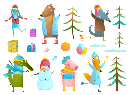 fur trees: Cute animals collection wearing warm clothes celebrating New Year or Christmas. Fur trees, clouds, gift boxes, balloons. Set for winter holidays design. Vector illustration.