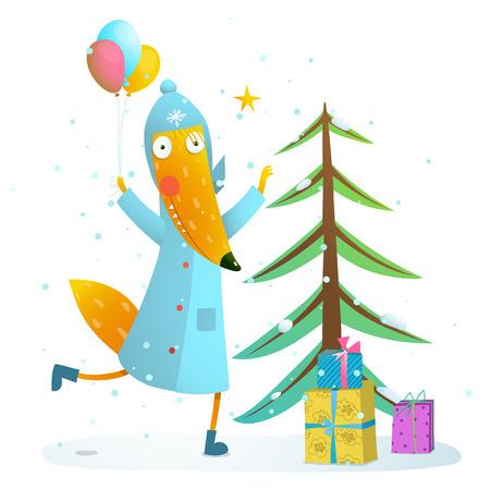 fur tree: Seasonal animal cute childish greeting card cartoon with fur tree and cute fox. Vector illustration.