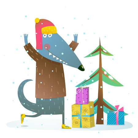 animal fur: Fun animal with fur tree and presents. Happy Christmas eve or New year illustration. Vector cartoon.