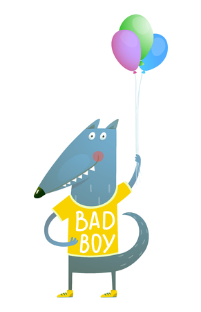 Happy fun watercolor style animal congratulation for children cartoon illustration. Vector drawing. Stock Photo