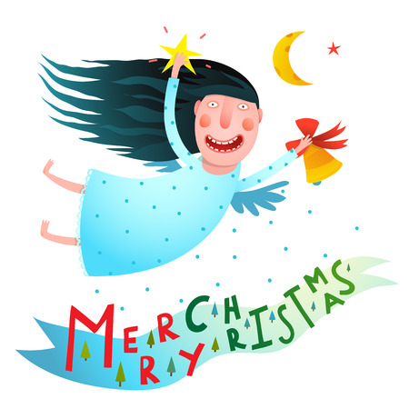 Merry Christmas cute funny girl angel greeting card design. Vector illustration.
