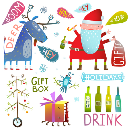 Christmas or New Year holidays crazy funny design set. Vector illustration.