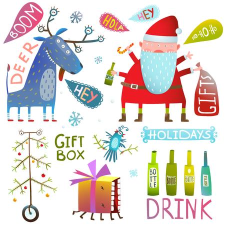 Noël ou nouvel an vacances fou design drôle. Illustration vectorielle Vecteurs