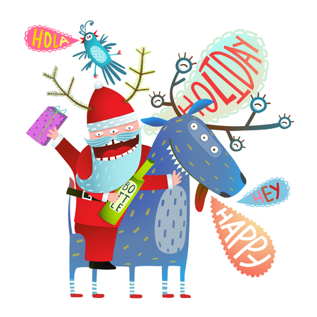 cartoon present: Reindeer and Santa monsters with bottle of drink and present winter holidays happy crazy cartoon. Vector illustration.