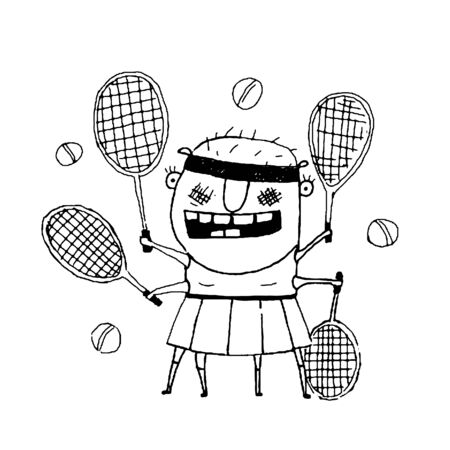 freaky: Fun cartoon sporty girl tennis player freaky style outline black and white drawing. Vector illustration Illustration