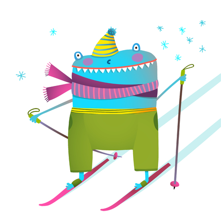 winter fun: Fun character for kids graphic design with snow wearing winter clothes. Vector illustration.