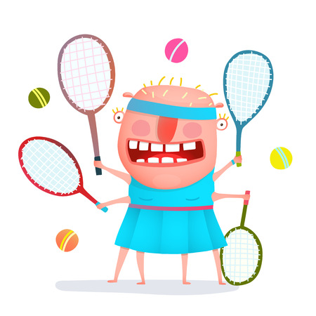 freaky: Fun cartoon sporty girl tennis player freaky style colorful drawing. Vector illustration