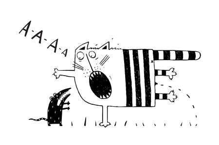 pee pee: Scared cat pee. blacj and white hand drawn cartoon. vector illustration. Illustration